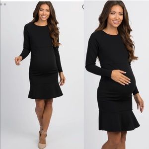 Pinkblush Long Sleeve Ruffle Hem Maternity Dress